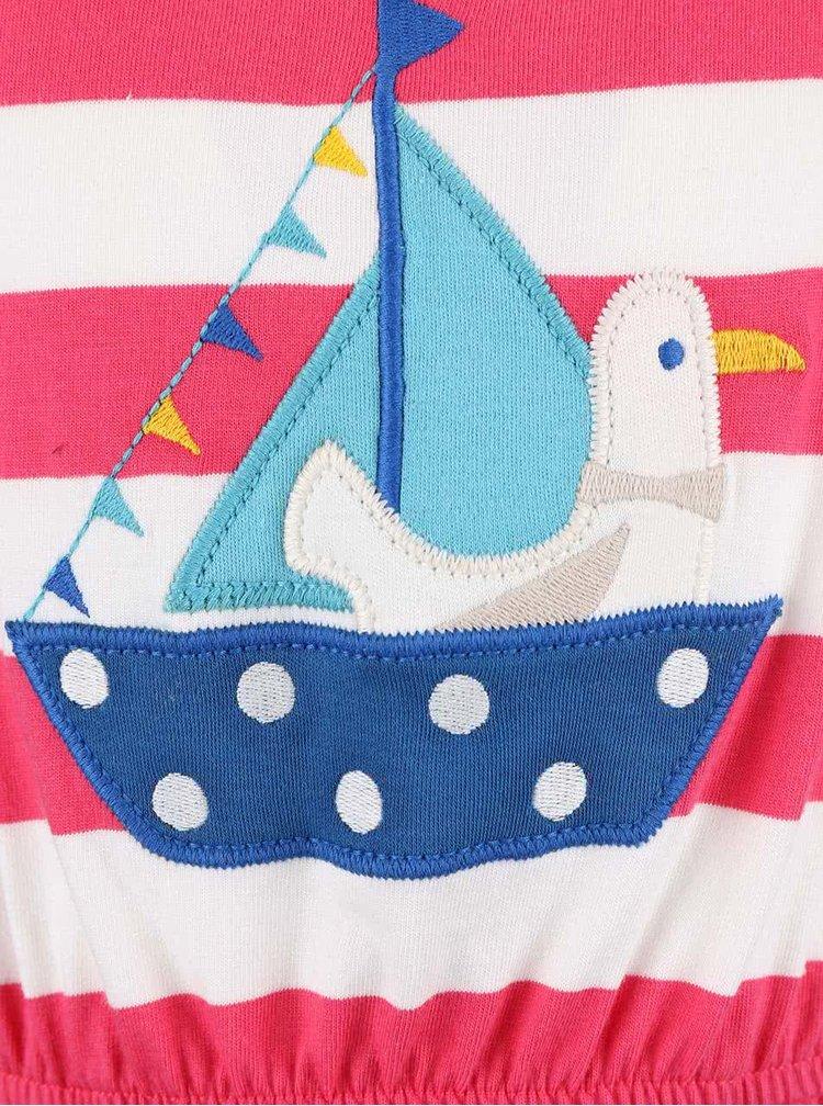 Bílo-růžové dívčí šaty s loďkou Frugi Bryher