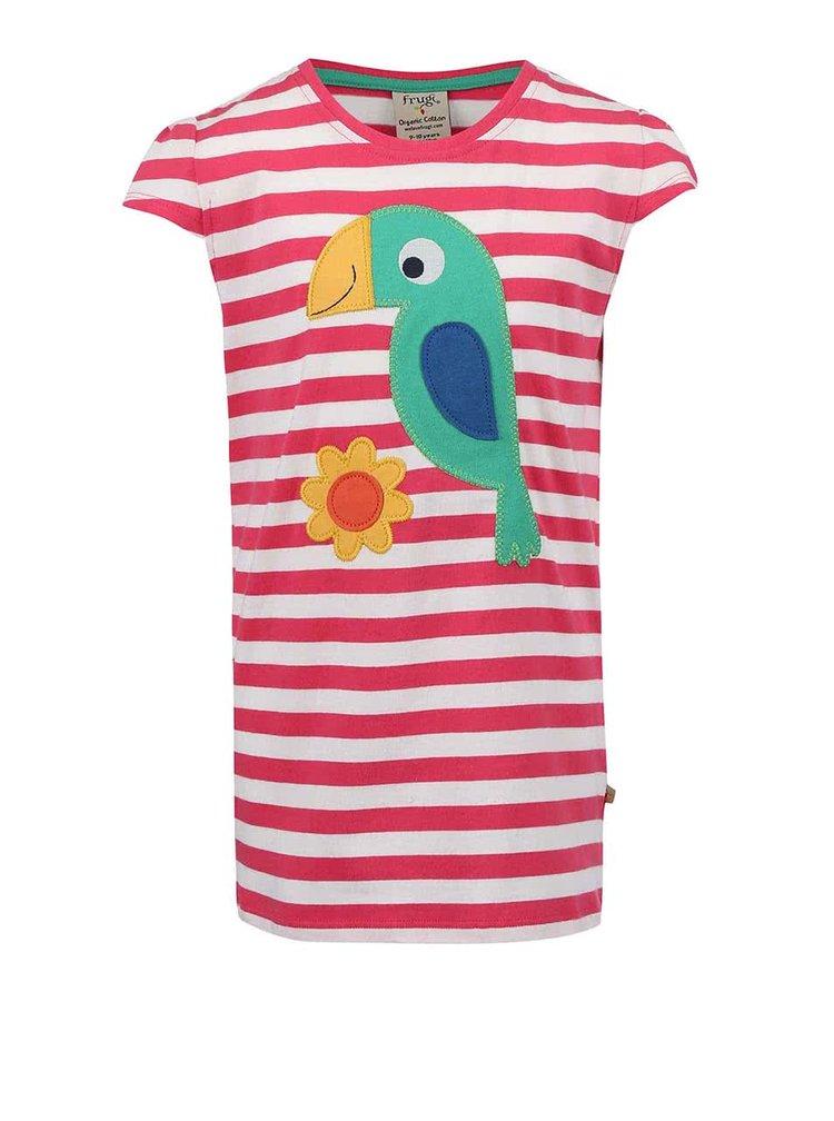 Ružové pruhované dievčenské tričko s papagájom Frugi Poldhu