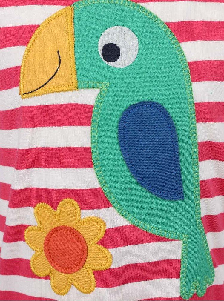 Růžové pruhované dívčí tričko s papouškem Frugi Poldhu