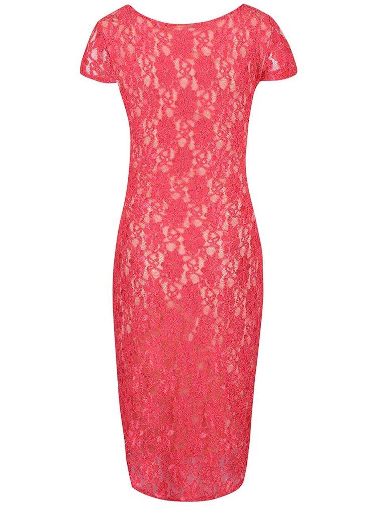 Krémovo-růžové těhotenské krajkové šaty Dorothy Perkins Maternity