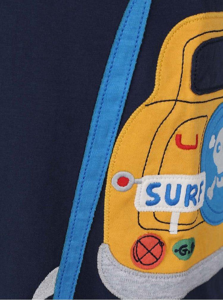 Modré chlapecké tričko s autem Frugi Stanley