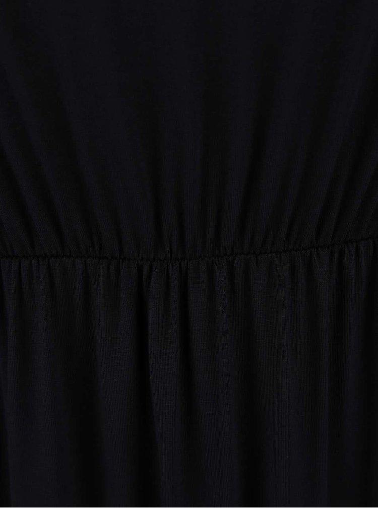 Černé maxišaty s nařasenými ramínky Dorothy Perkins Petite