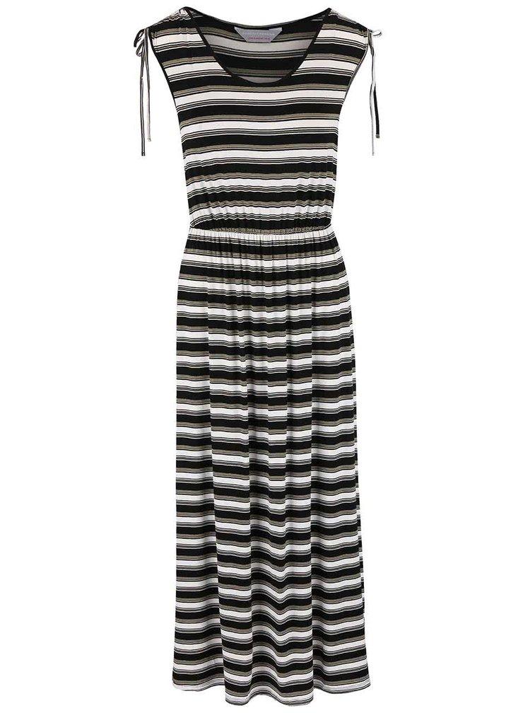 Bílo-černé šaty se zelenými pruhy Dorothy Perkins Petite