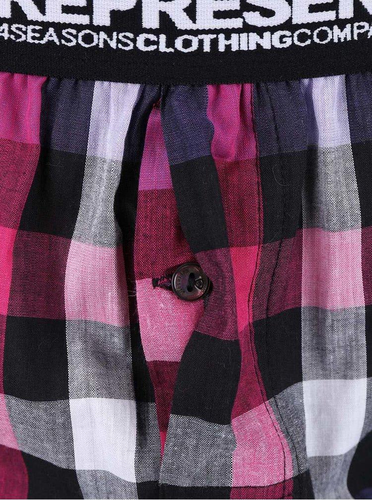 Růžovo-fialové kostkované trenýrky Represent Mikebox