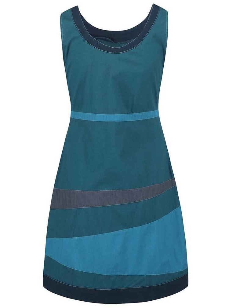 Petrolejové šaty s barevnými pruhy Tranquillo Guarana