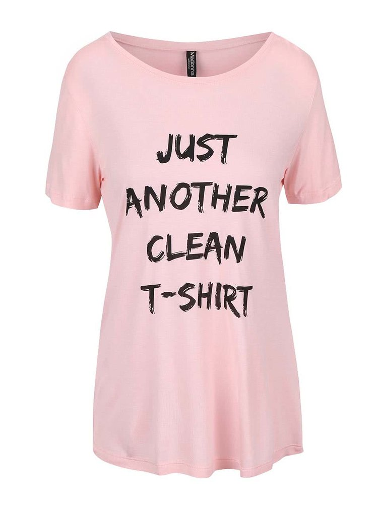 Růžové delší tričko s potiskem Madonna
