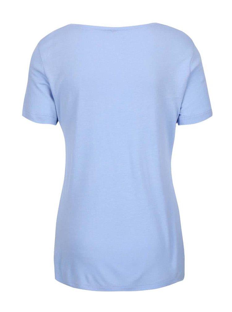 Světle modré delší tričko s potiskem Madonna