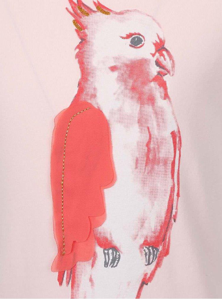 Ružové dievčenské tričko s papagájom name it Tilaya