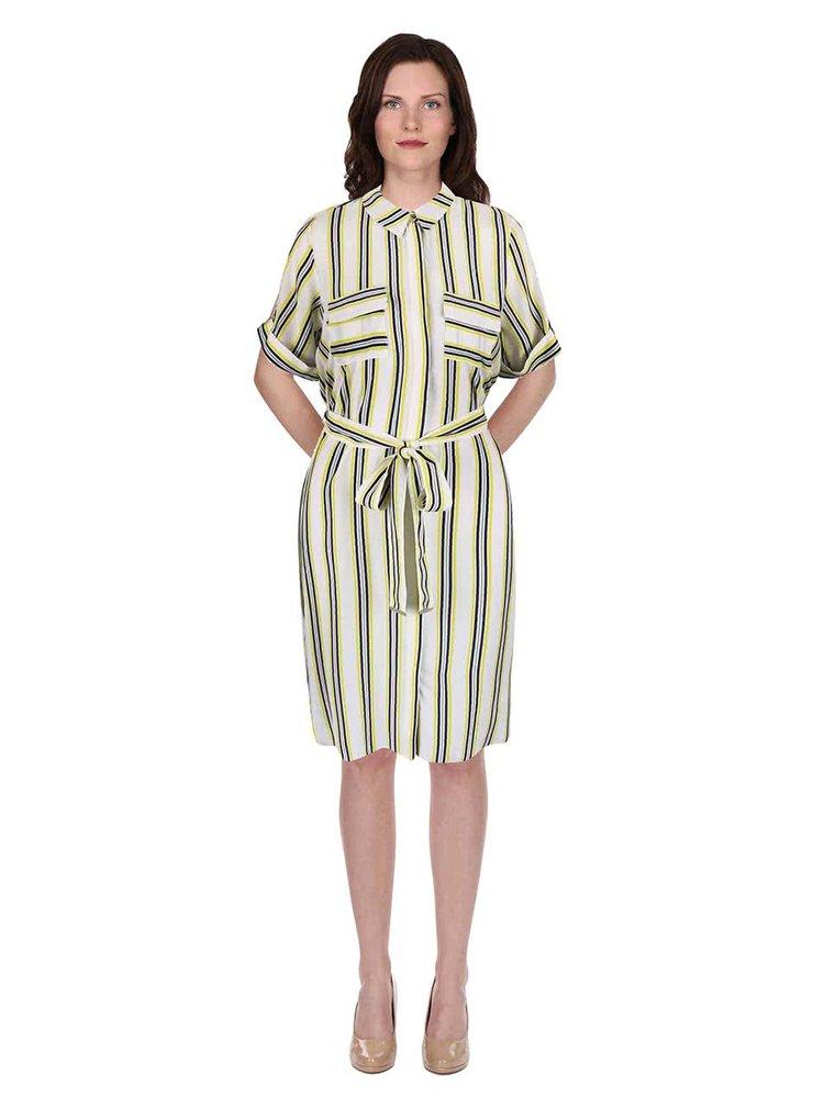 Krémové košeľové šaty s opaskom a farebnými pruhmi Dorothy Perkins