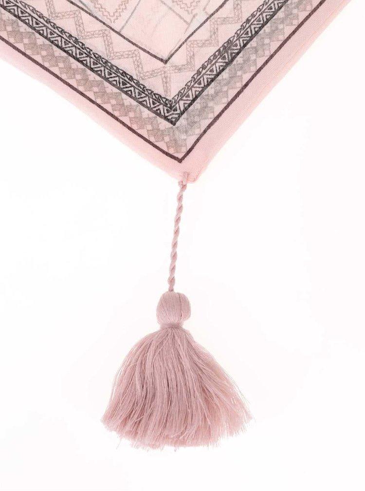 Růžový vzorovaný dutý šátek Pieces Bellatrix