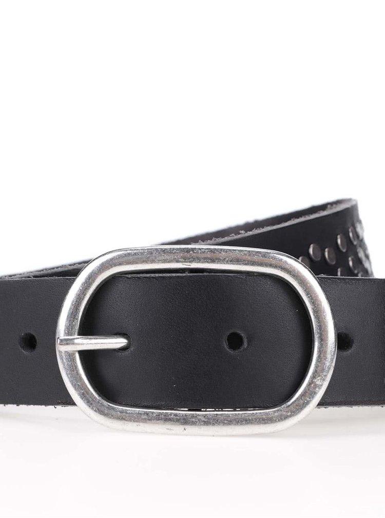 Čierny kožený opasok Pieces Bayo