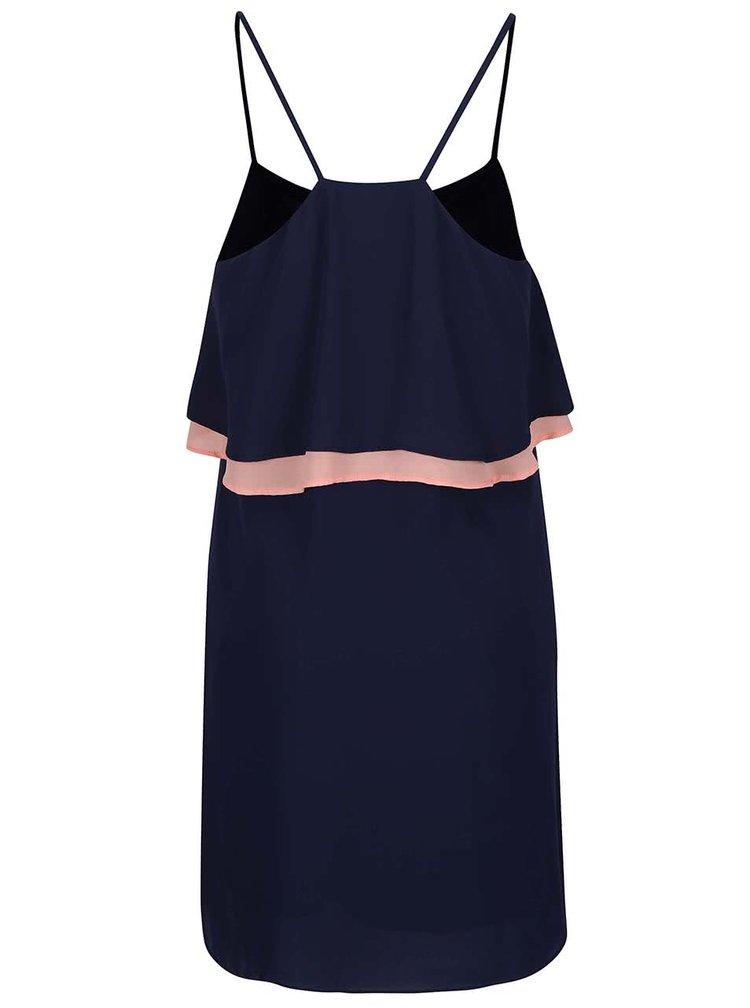 Modré šaty s ružovým volánom GINGER+SOUL
