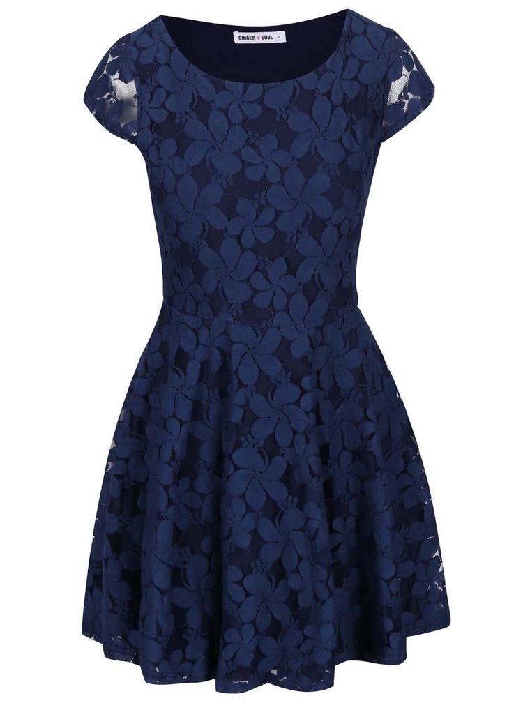 Tmavomodré čipkované šaty GINGER+SOUL