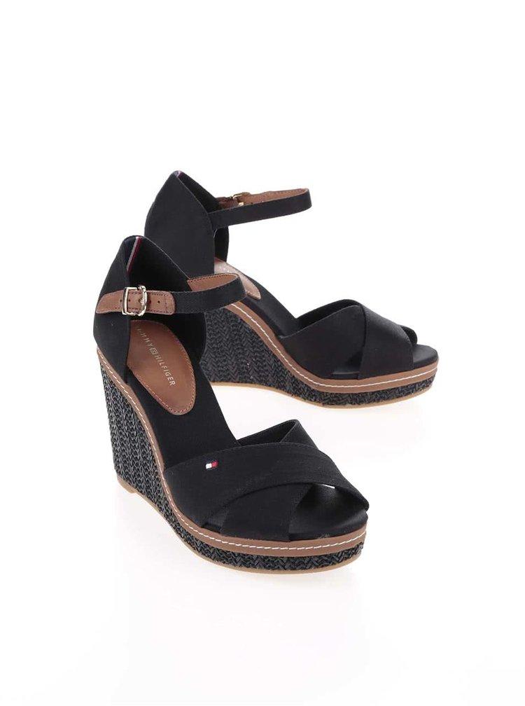Černé dámské bavlněné boty na klínku Tommy Hilfiger