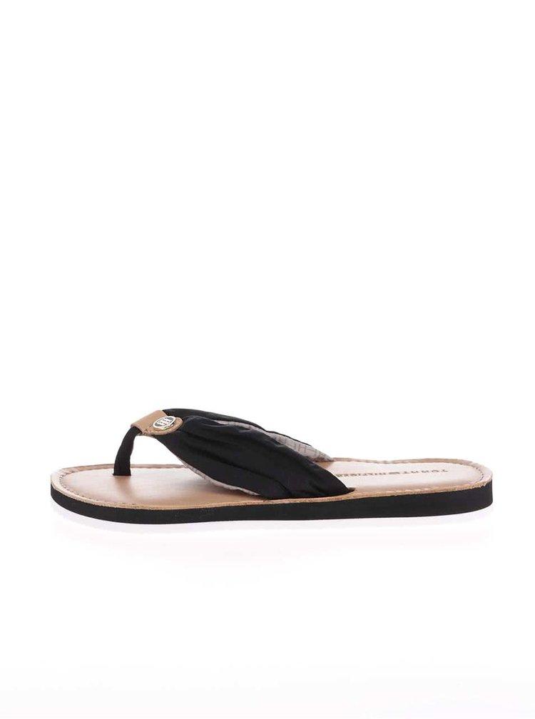 Černé kožené dámské žabky Tommy Hilfiger