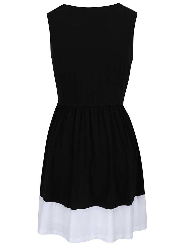 Černé šaty s bílým lemem Lavand