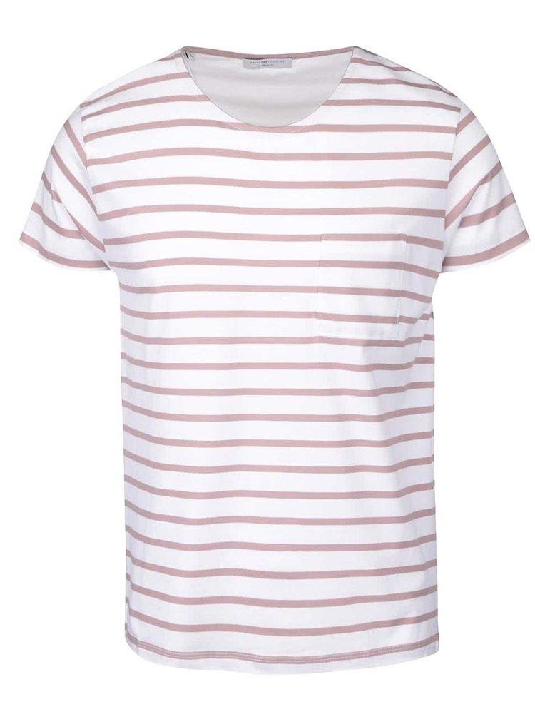 Béžovo-krémové pruhované triko Selected Homme Stroke