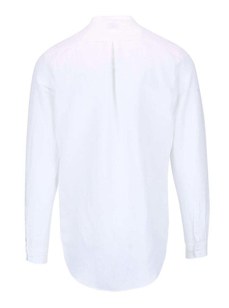 Bílá košile bez límečku Selected Donecal