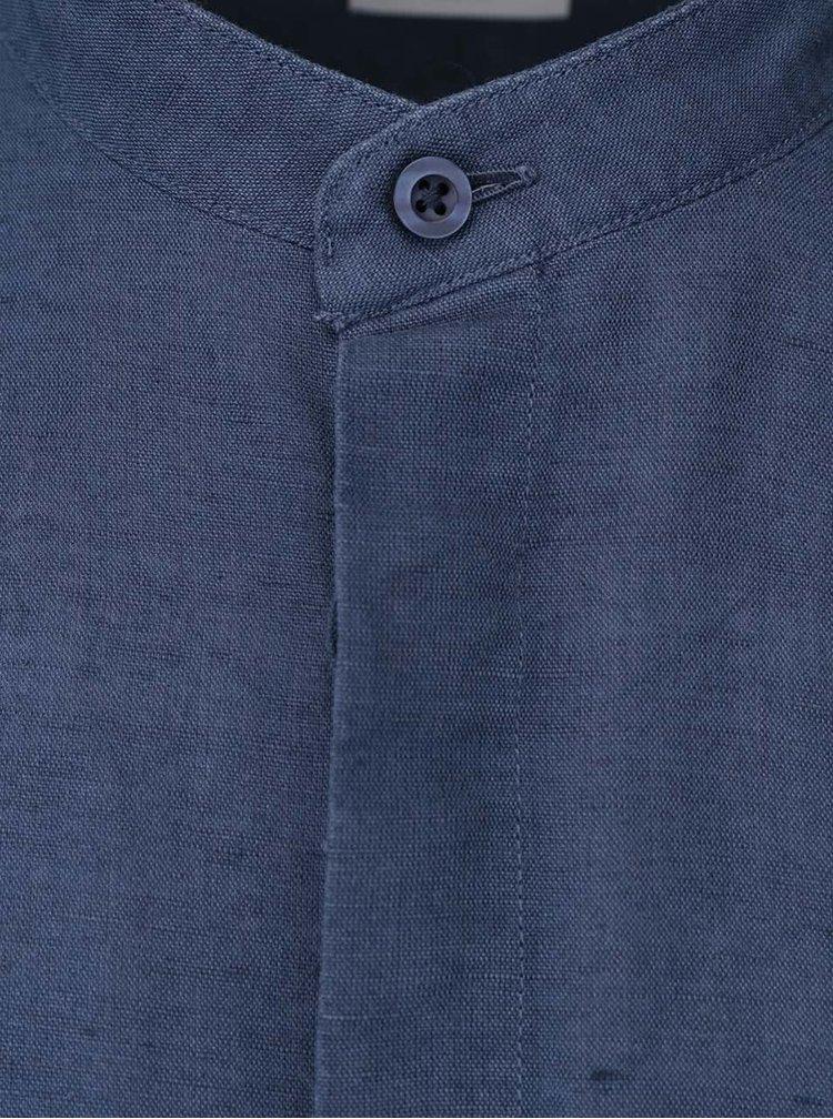 Modrá košile bez límečku Selected Donecal