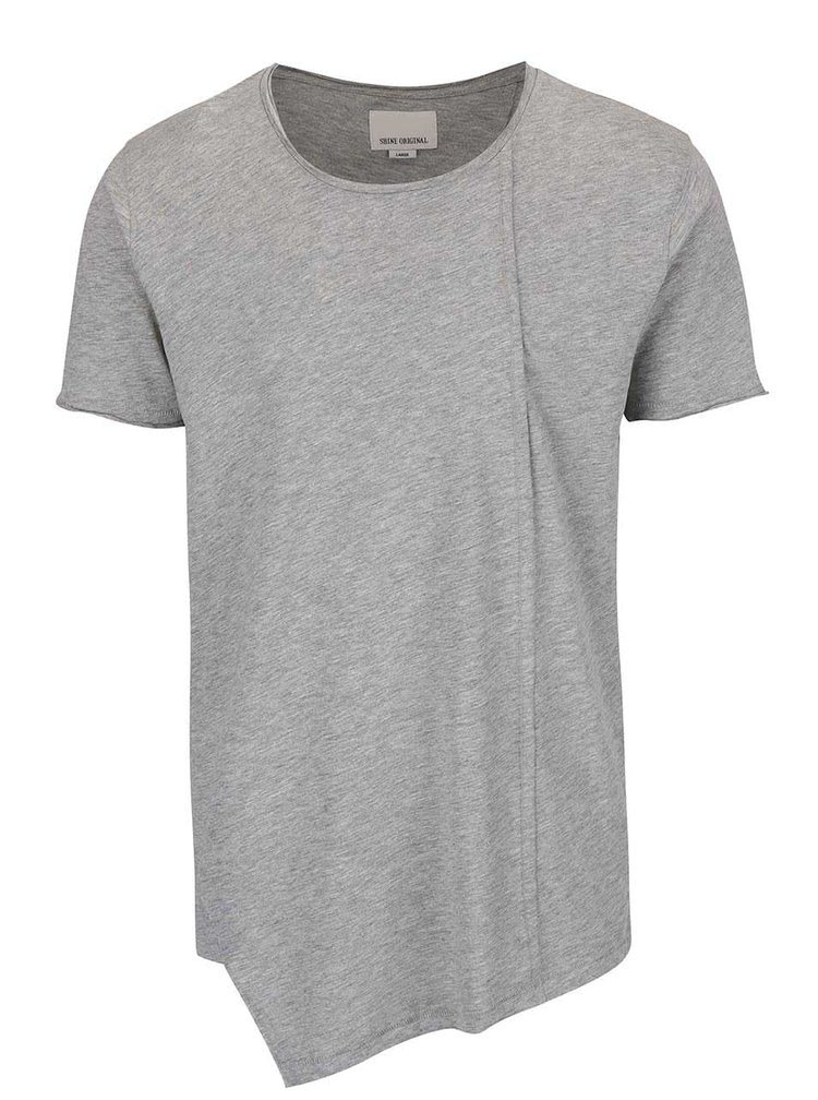 Tricou asimetric Shine Original Long Oversize gri