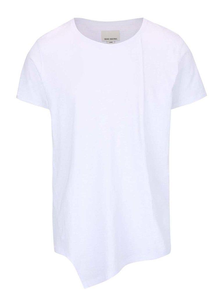 Tricou asimetric Shine Original Long Oversize alb