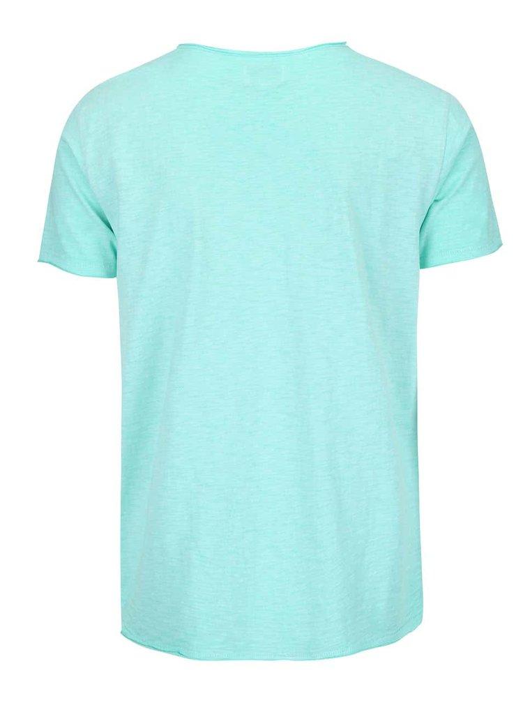 Mentolové žíhané triko s náprsní kapsou Shine Original Rider