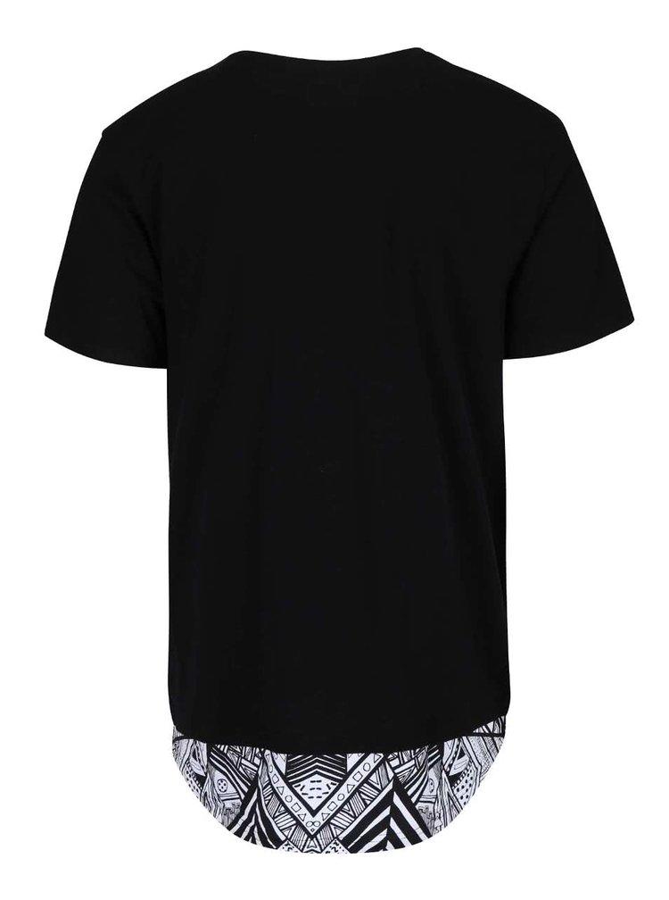 Černé delší triko s potiskem Shine Original Long Oversize