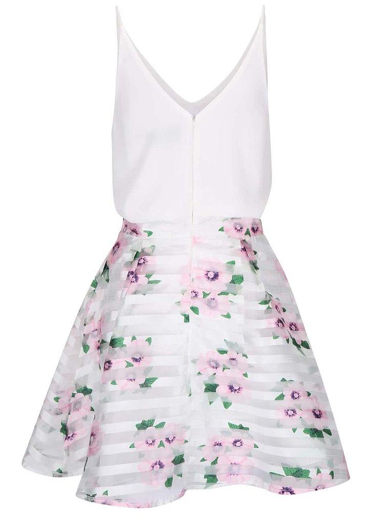Krémové šaty na ramínka s květovanou sukní AX Paris