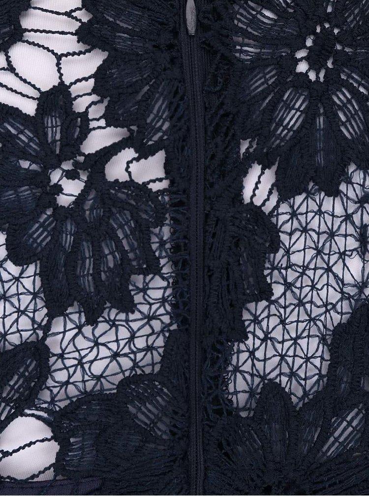 Tmavomodré čipkované midišaty AX Paris