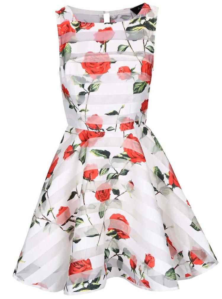 Bílé šaty s červenými květy AX Paris