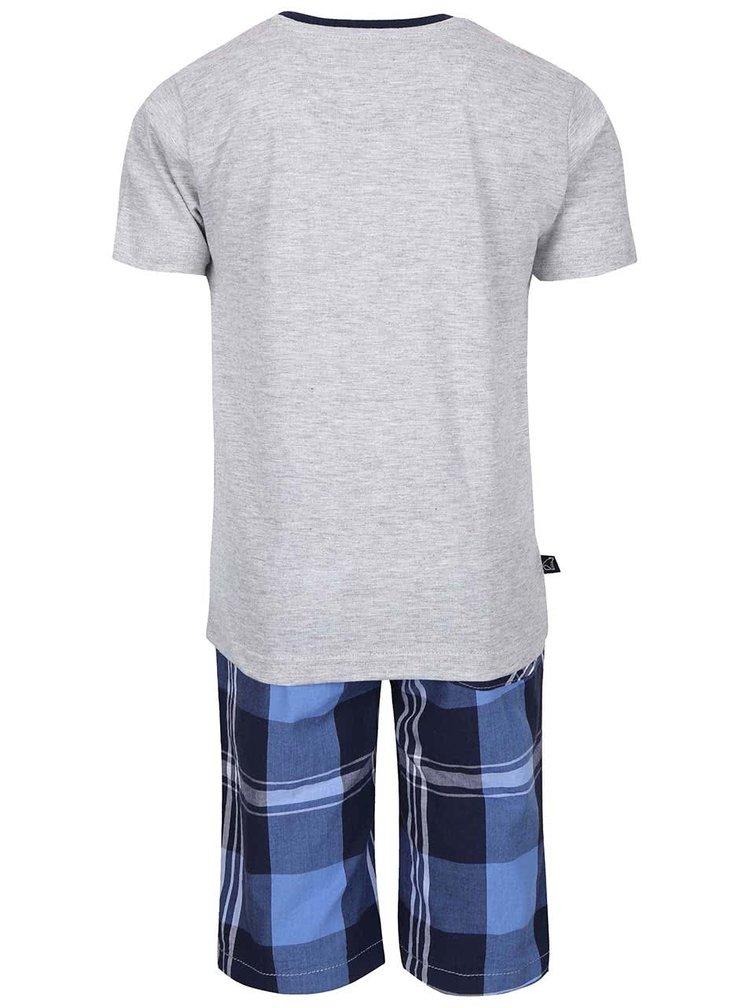 Set pantaloni scurți și tricou North Pole Kids gri cu albastru