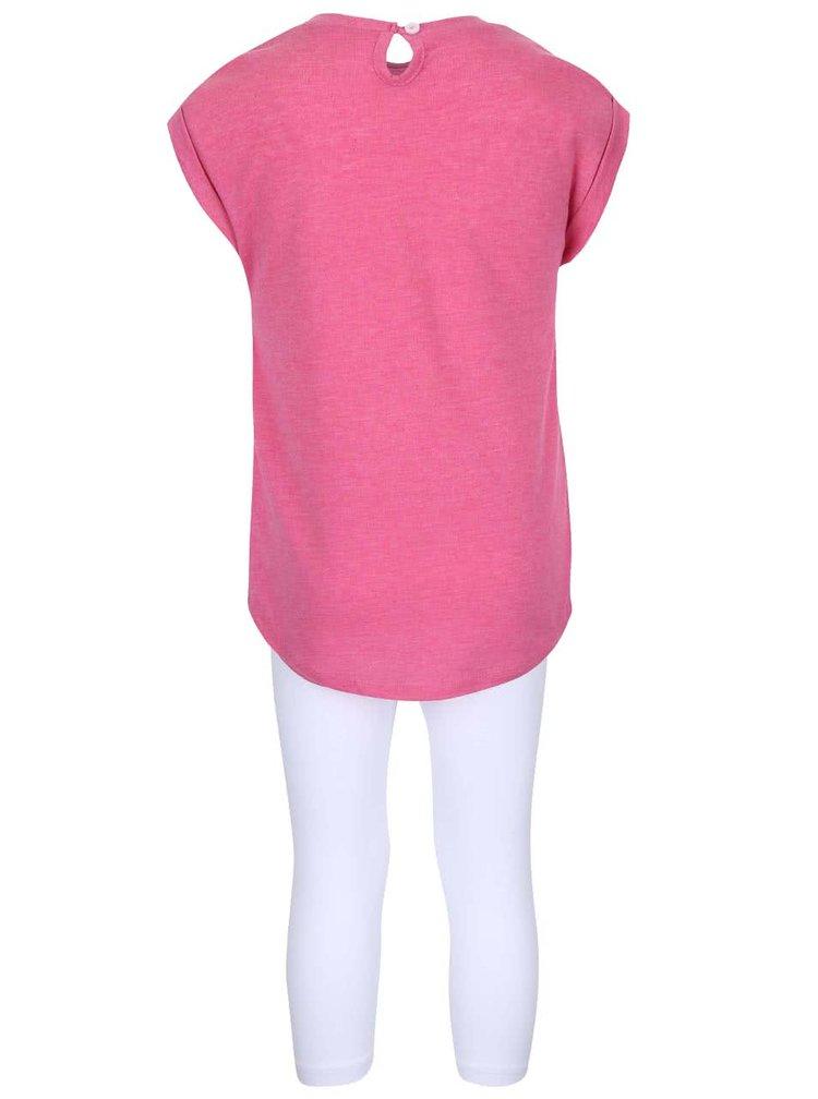 Súprava dievčenských bielych legín a ružového trička North Pole Kids