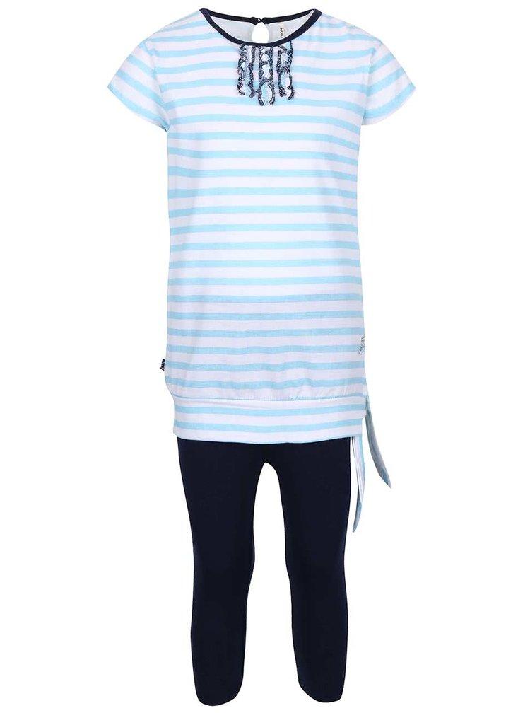 Set holčičích modrých legín a světle modrého pruhovaného trička North Pole Kids