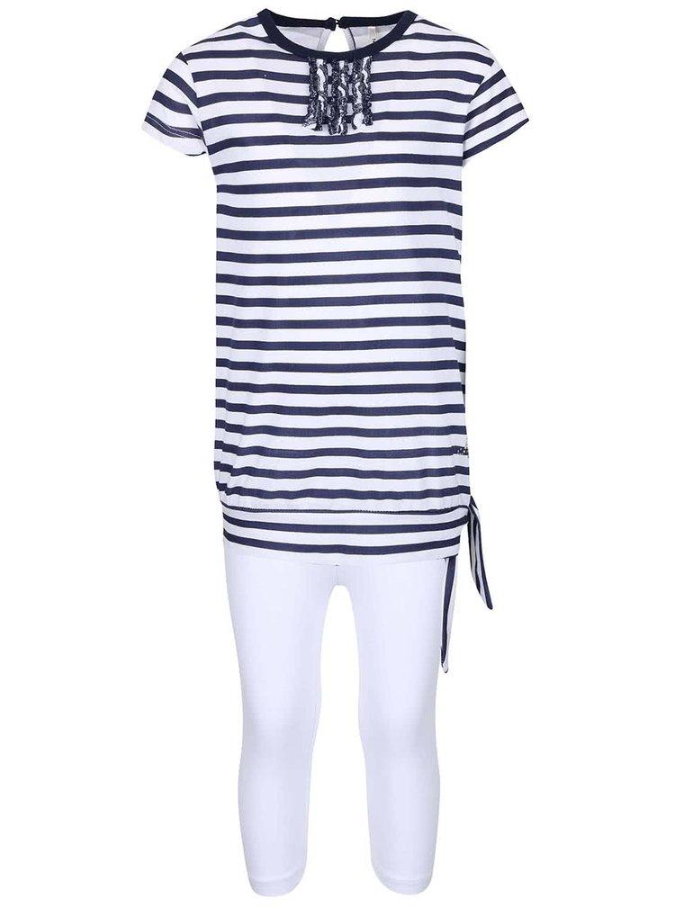 Set colanți și tricou de fete North Pole Kids alb cu albastru