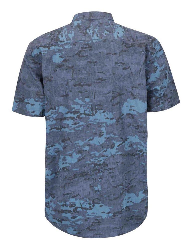 Modrá košeľa s maskáčovým vzorom Shine Original Gibson Out