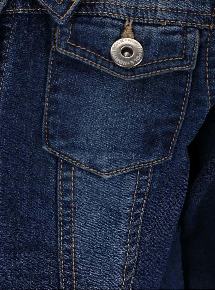 Modrá holčičí džínová bunda s béžovým prošíváním North Pole Kids
