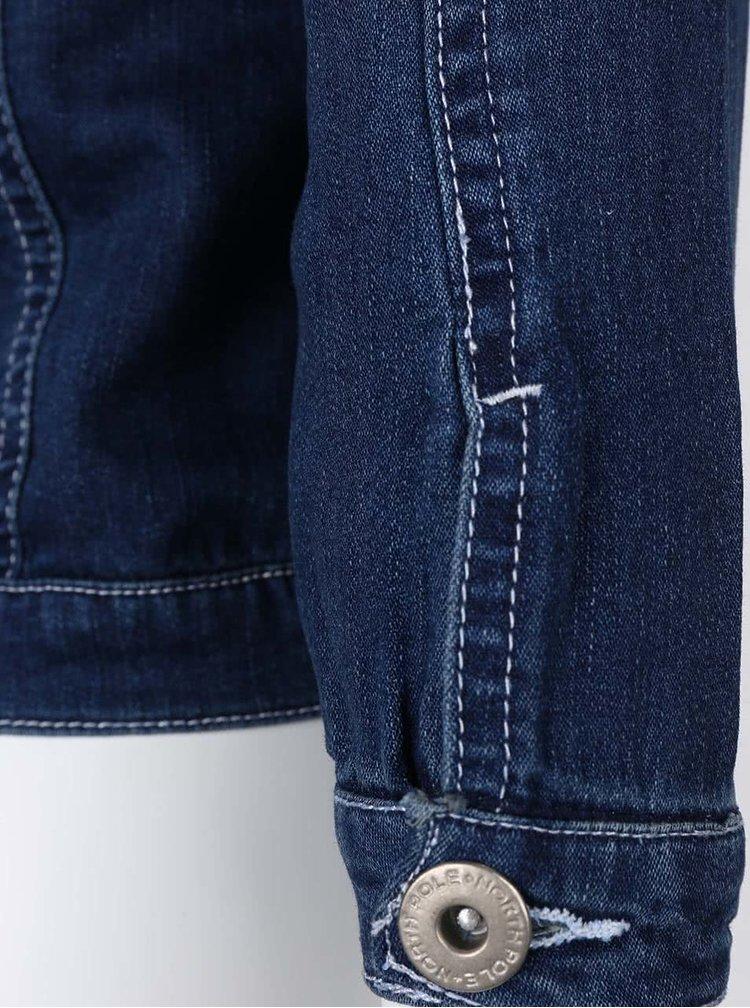 Modrá holčičí džínová bunda s bílým prošíváním North Pole Kids