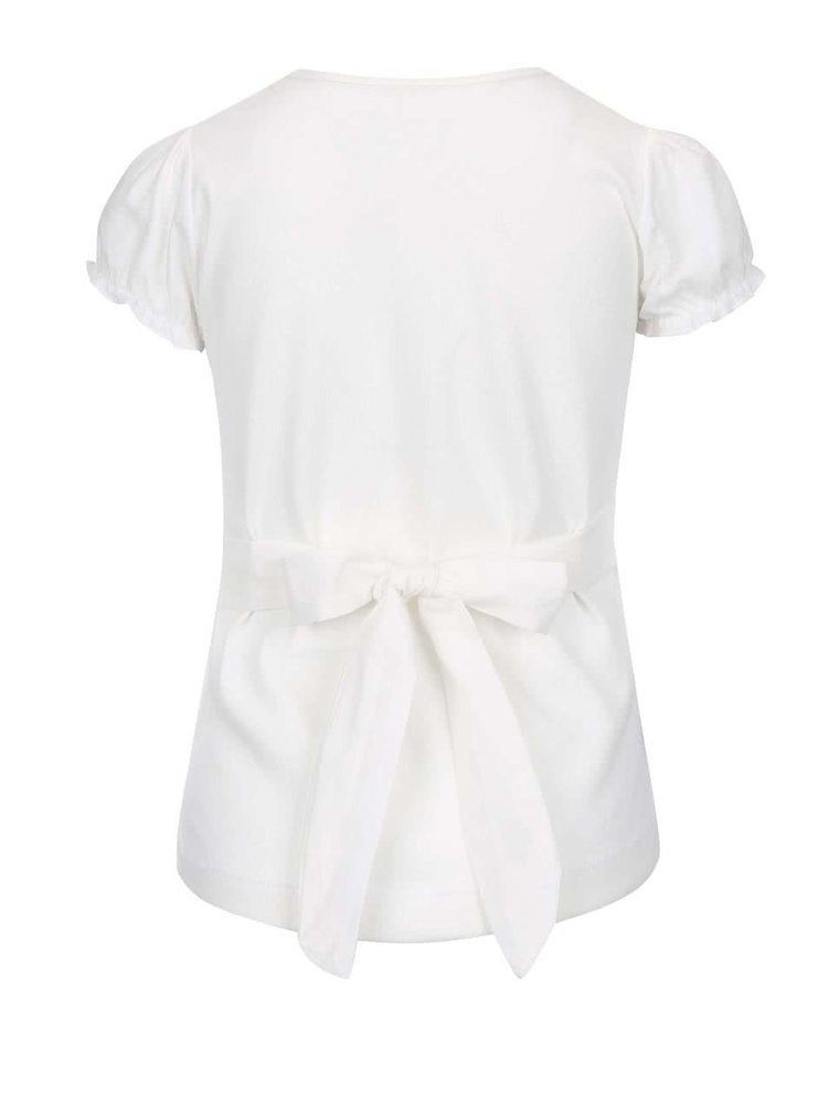 Tricou fete North Pole Kids crem cu imprimeu panglică