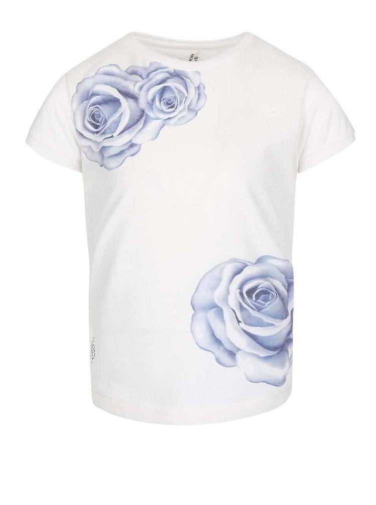 Krémové dievčenské tričko s potlačou ruží North Pole Kids