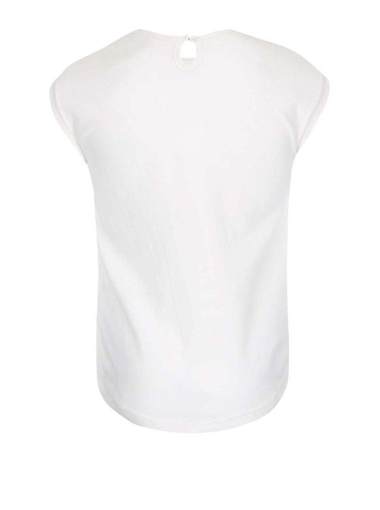 Krémové dievčenské oversize tričko s potlačou North Pole Kids
