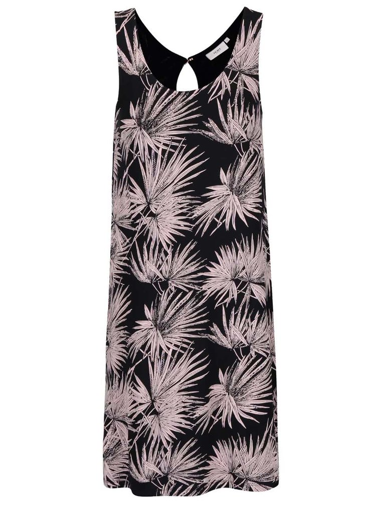 Černé šaty s motivy listů v růžové barvě ICHI Lisa