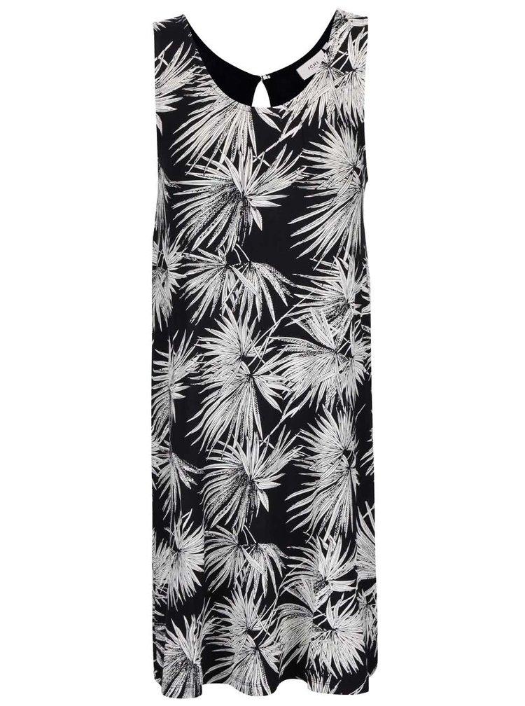 Čierne šaty s motívmi listov v bielej farbe ICHI Lisa