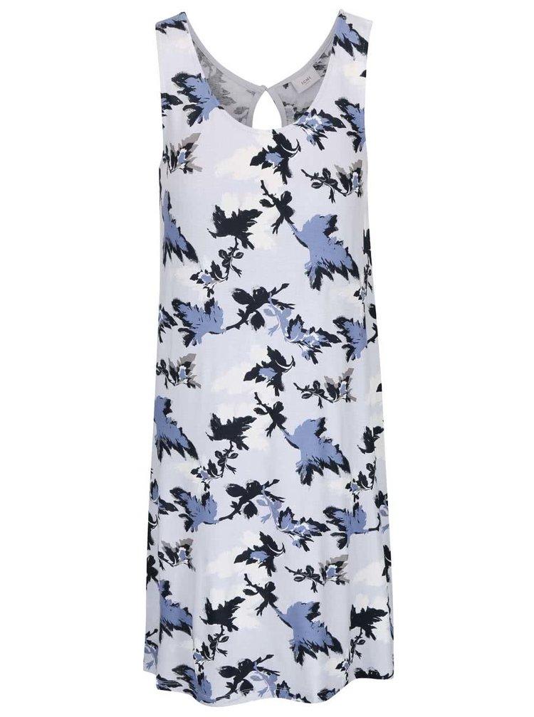 Modré voľnejšie šaty s motívmi listov ICHI Lisa