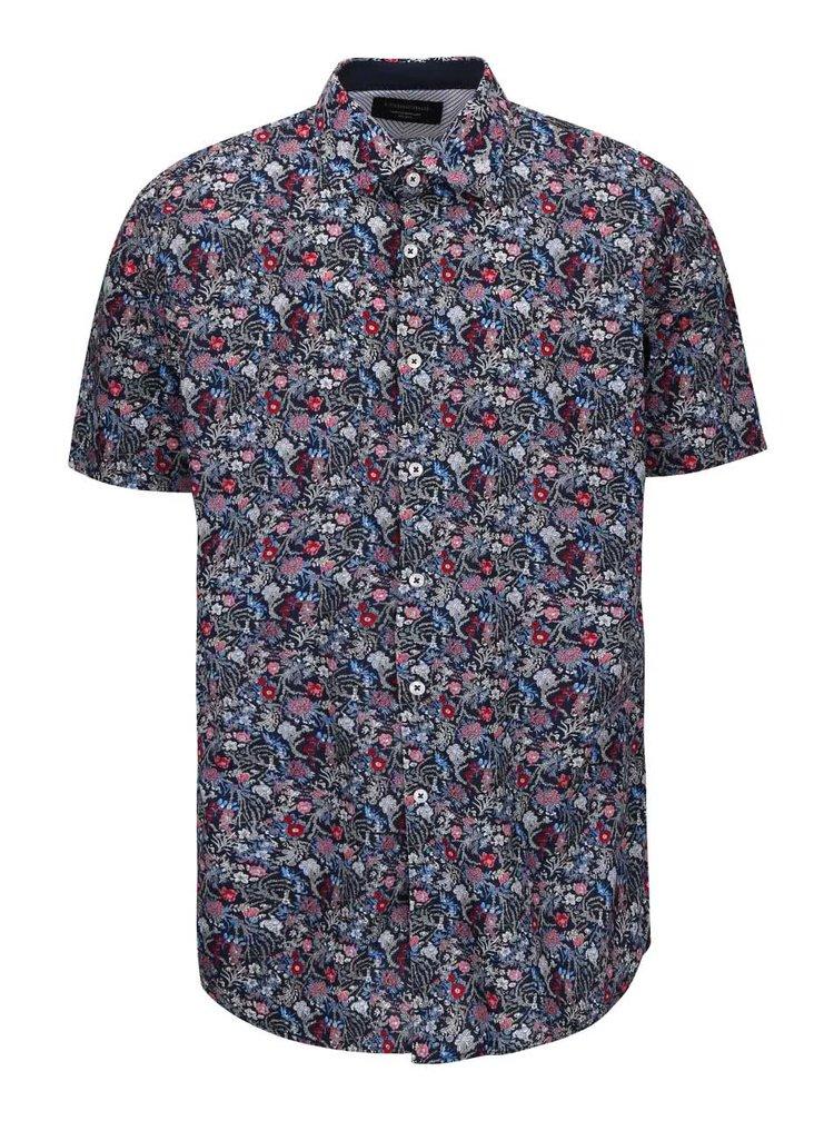 Tmavomodrá košeľa s kvetinovým vzorom Lindbergh Dress Fit
