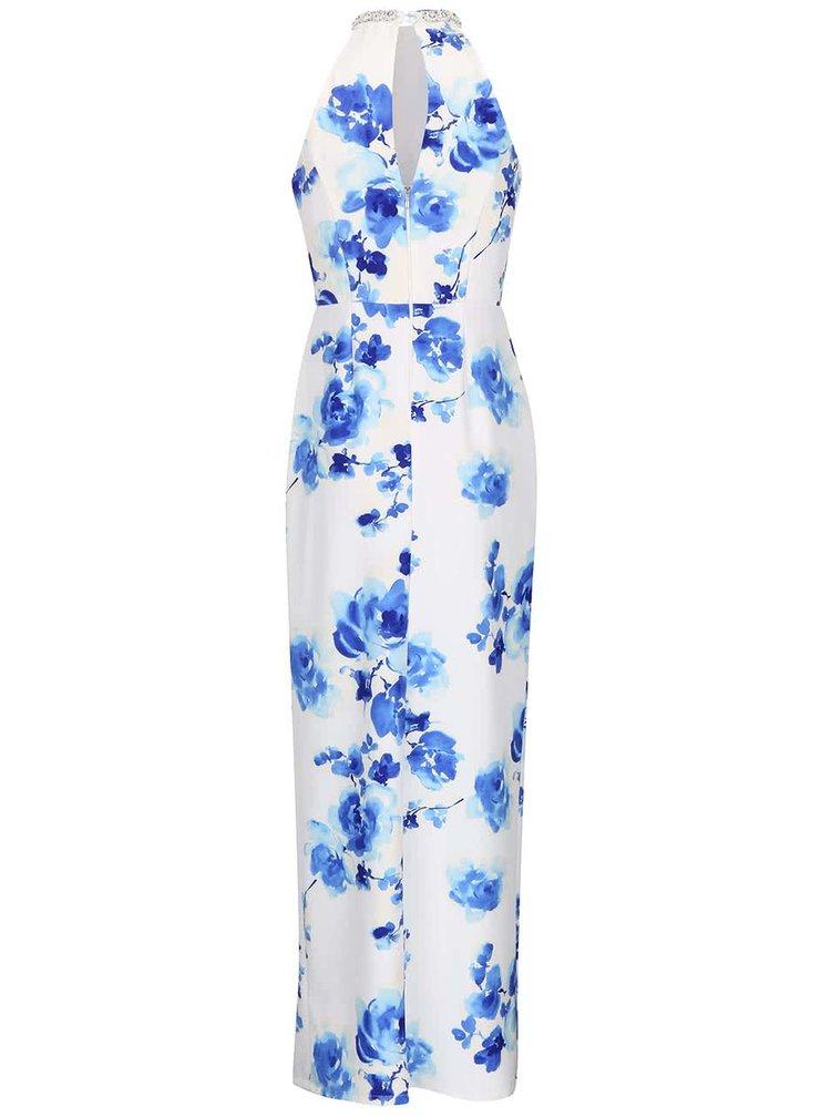 Biele maxišaty s modrými kvetmi Little Mistress