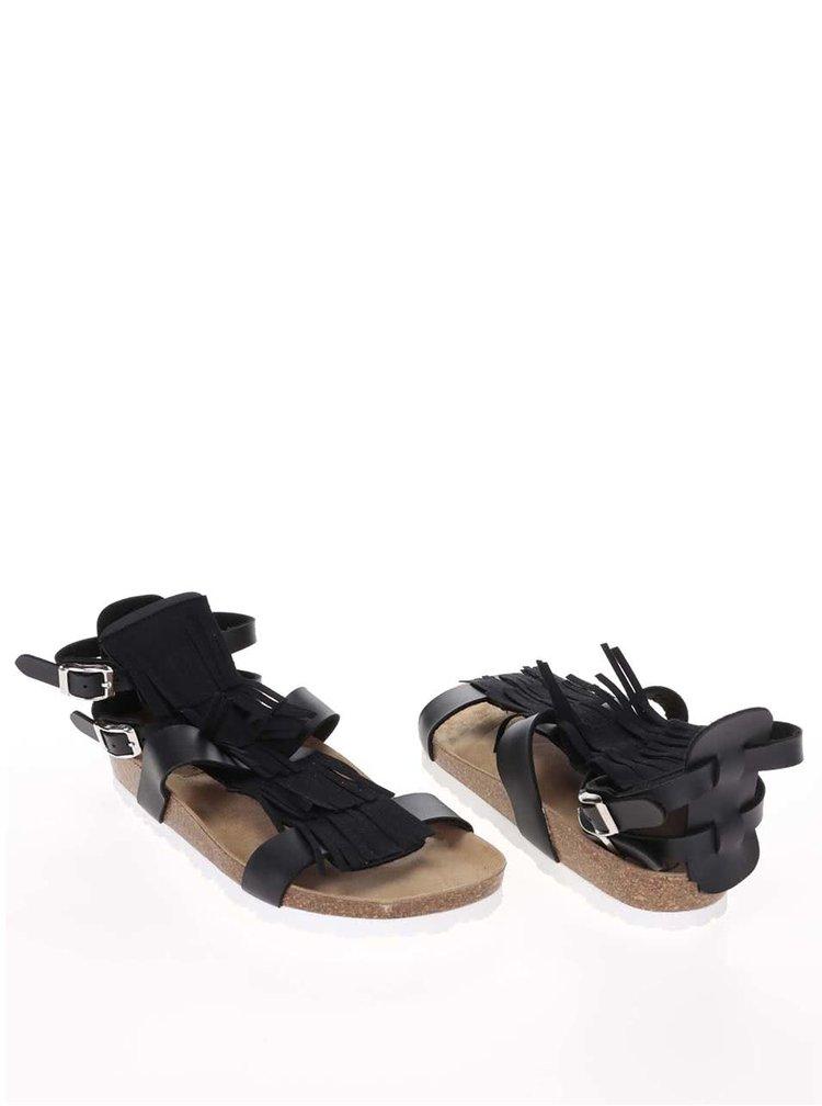 Sandale cu franjuri OJJU negre