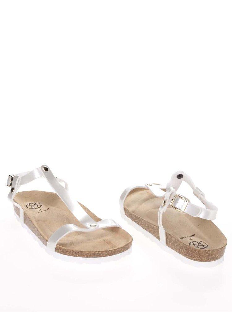 Sandale OJJU alb lucios