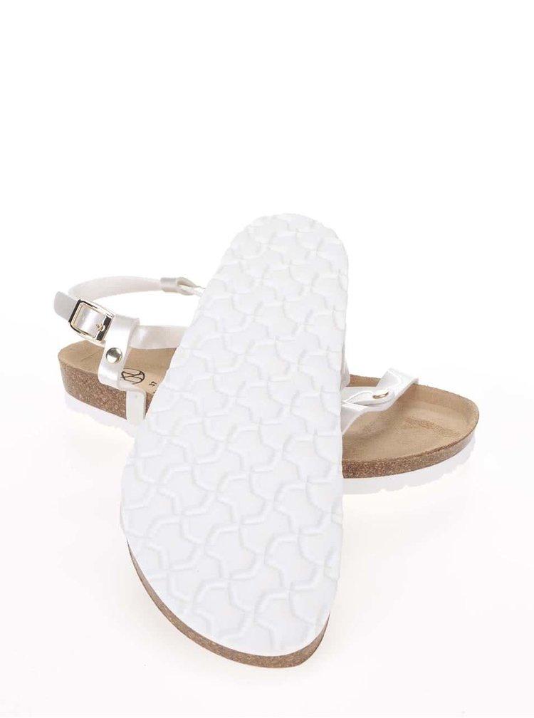 Biele lesklé dámske sandále OJJU