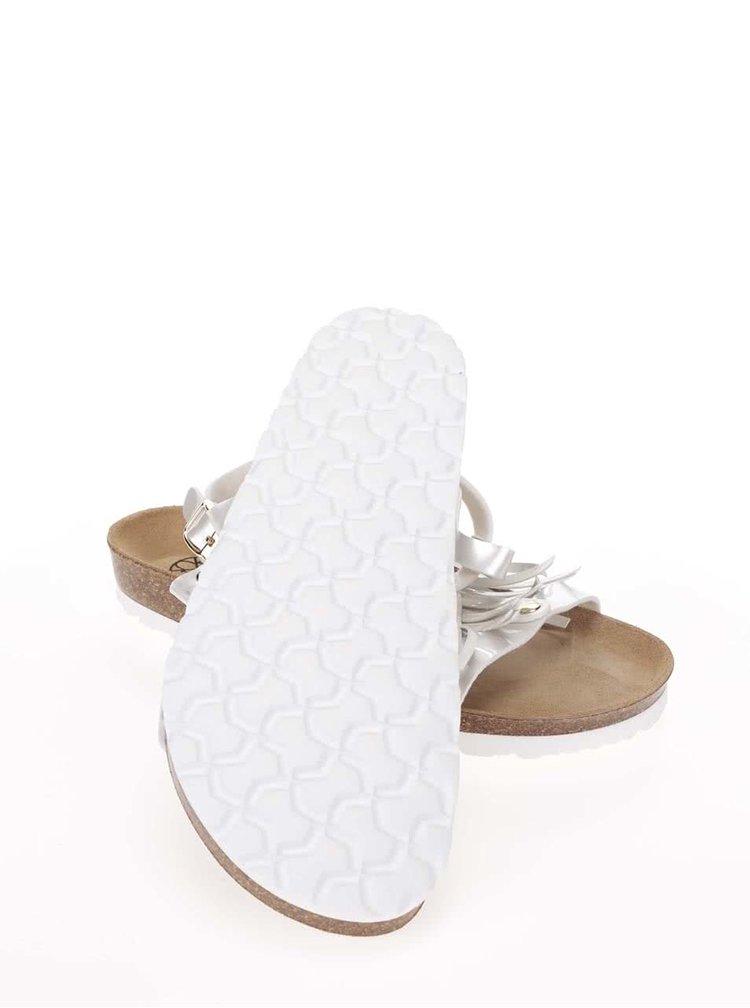 Biele lesklé dámske sandále so strapcami OJJU