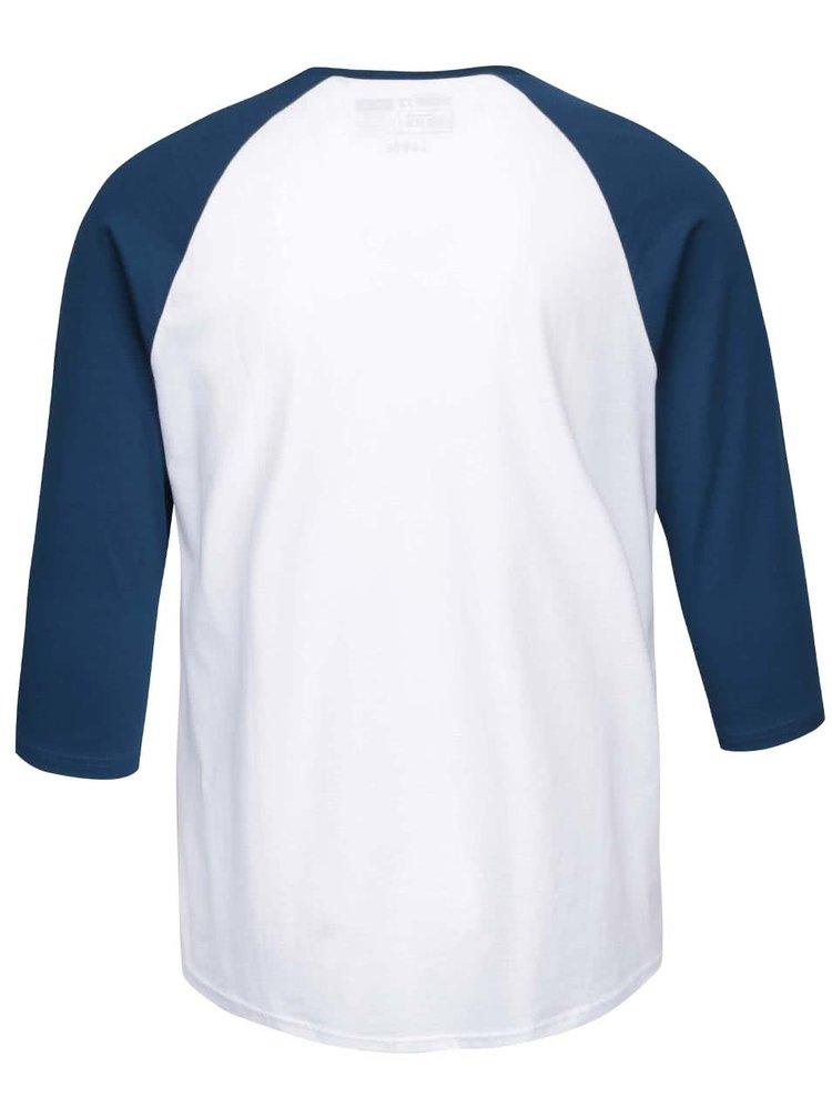 Bluză de bărbați Vans Raglan albă cu mâneci albastre